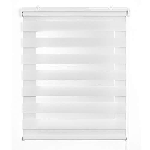 Estor Noche y Día, estor enrollable con doble tejido para ventanas y puertas (180 cm x 180 cm, Blanco)
