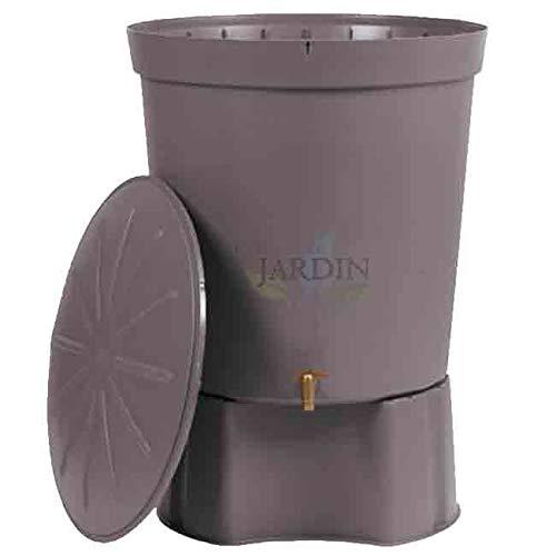 Suinga DEPOSITO DE AGUA gris granito POLIPROPILENO 300 LITROS para agua de lluvia. Incluye tapadera, base y grifo. Diámetro 82 cm, Alto 86 cm.