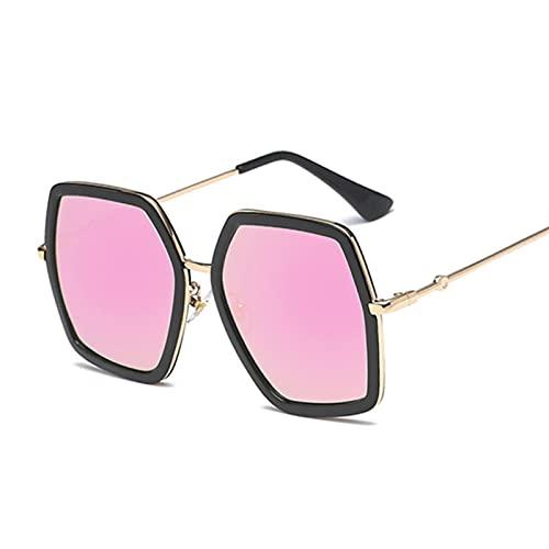 BAYSU Occhiali da Sole Moda Signora esagono Occhiali da Sole Donne Occhiali da Sole di Lusso Occhiali da Sole per Le Donne quadrate Sfumature Oversize Femmina (Lenses Color : BlackPurple)