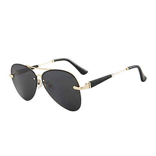 Gafas de sol polarizadas sin marco para hombres Gafas de sol Mercedes-Benz 743 Shade Driving Mirror-black_Gold frame grey sheet