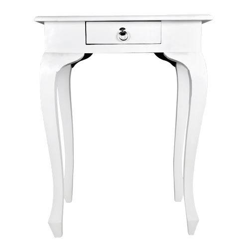 BURI Beistelltisch \'Preston\' weiß aus Mahagoni Nachttisch Wohnzimmertisch Holztisch