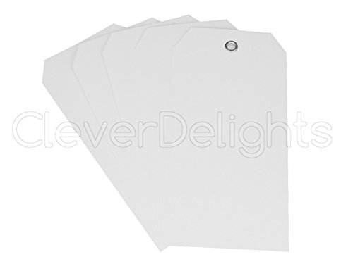 100 Pack - CleverDelights White Plastic Tags - 4.75' x 2.375' - Tear-Proof and Waterproof - Inventory Asset Identification Price Tags