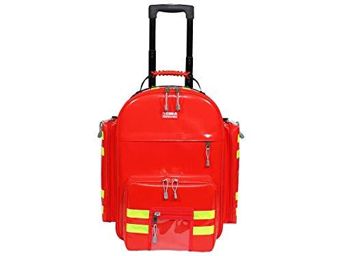 GIMA - Zaino Emergenza Logic 2, in PVC, con Trolley, 6 Borsette Colorate, 2 Tasche Frontali e 2 laterali, Colore Rosso e Doppie Strisce Gialle Rifrangenti, Cinghie per Tracolla, Misura 49 x 31 x 57 cm