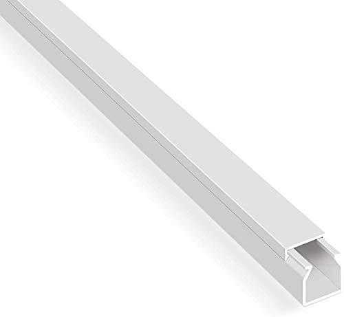 Canaletas de cables autoadhesivas de 20 m, color blanco (12 x 12 mm/20 x 1 m) – Canaleta para cables con cinta adhesiva de espuma lista para el montaje