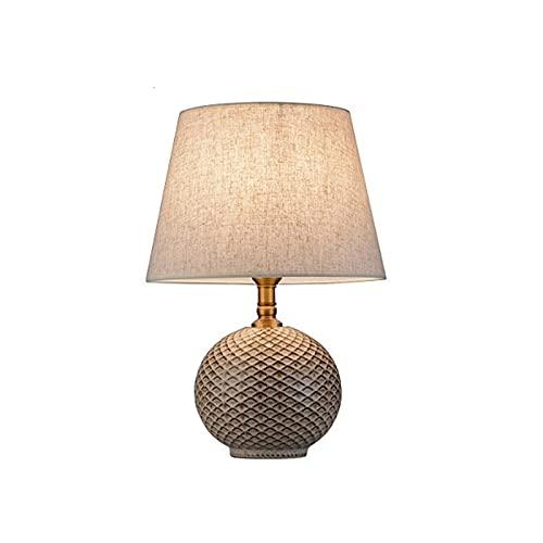Lámpara de mesa Lámpara de mesa de cerámica American Retro Dormitorio Mesa de noche Lámpara de tela Pantalla Lámpara de estar Lámparas decorativas Lámpara Escritorio (Color : A)