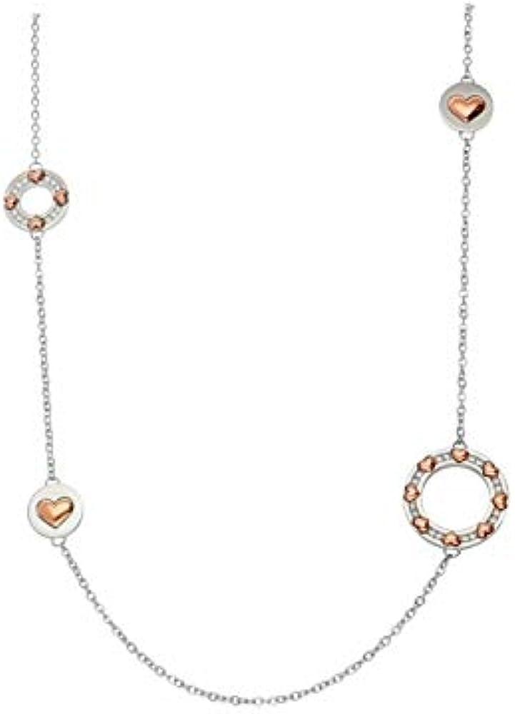 Stroili,collana da donna, in acciaio,con cuori rosa e strass 1666084