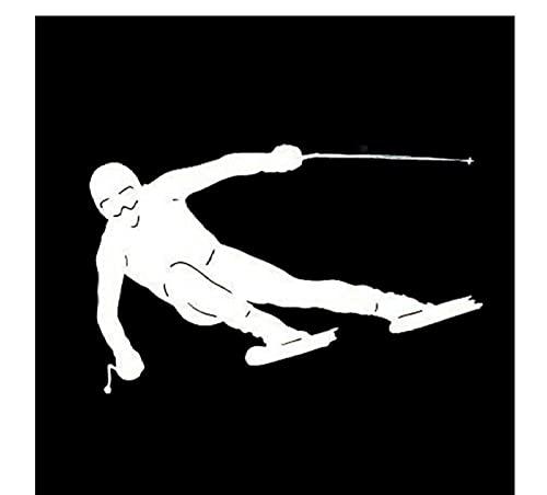 MDGCYDR Pegatinas Coche 13 Cm * 8,3 Cm Estilo De Coche Tablero Doble Esquí Moda Deportes Coche Pegatinas Vinilo Calcomanía Negro Plata