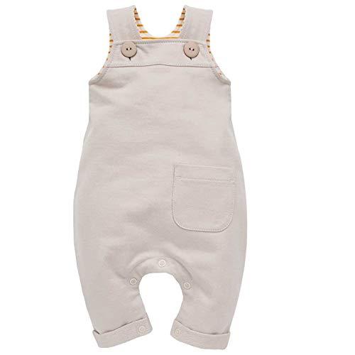 Baby Latzhose mit Tasche für Jungen & Mädchen unisex Overall Trägerhose Beige Dungarees Babyhose currygelb gestreift - 100% Baumwolle | 62, 68, 74, 80, 86