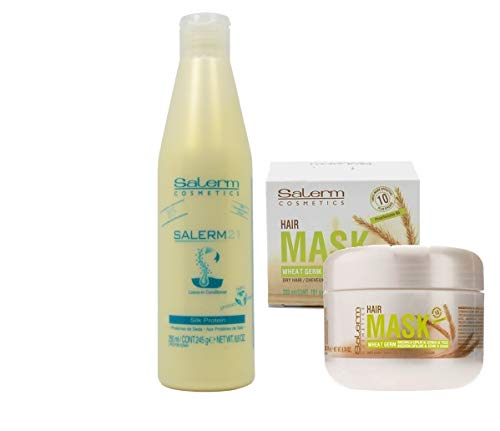Salerm 21 Acondiconador Proteina de Seda 250ml + Salerm Mascarilla Germen de Trigo 200ml