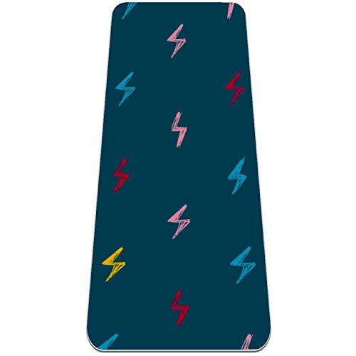 Eslifey Colorido patrón rayo tapete de yoga grueso antideslizante para mujeres y niñas, tapete de ejercicio suave para pilates (72 x 24 pulgadas, 0,6 cm de grosor)