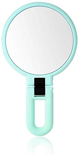 LHY- Maquillage Miroir Beauté Maquillage Double Face Miroir Loupe Portable Princesse Miroir Pliant Miroir Miroir poignée La Mode (Color : Green)