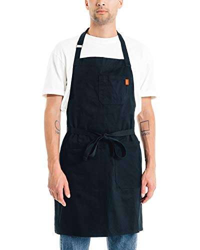 Caldo Daily Cotton Kitchen Apron for Cooking- Mens and Womens Professional Chef or Server Bib Apron - Adjustable Straps with Pockets and Towel Loop Black