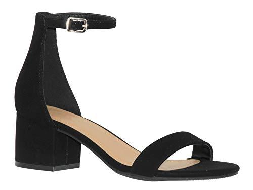 MVE Shoes Chunky Block Heel Dress Sandal Over Toe & Ankle Wrap Strap, Black NB 7