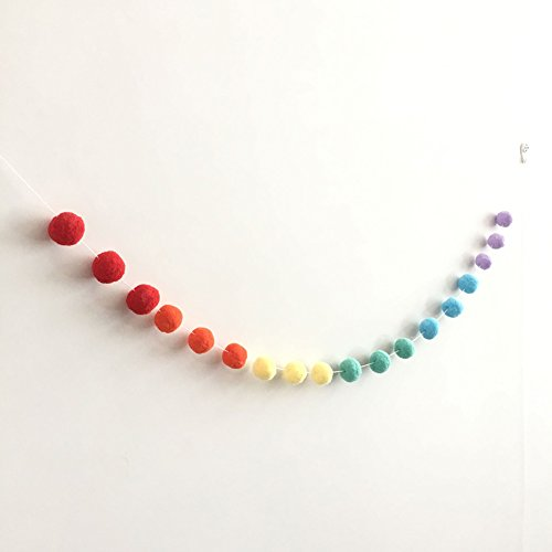 Skgardeniamy Colourful Soft POM Ball Hanging Garland Birthday Party Girls Living Bed Room Decor., multicoloured, Large
