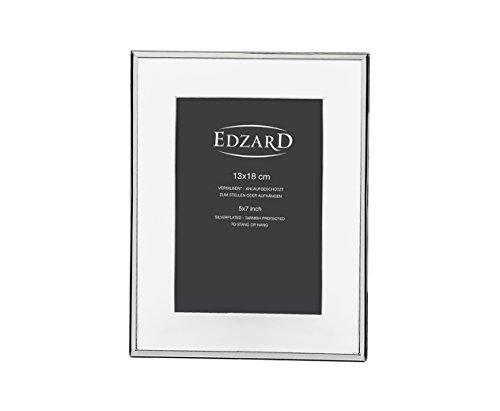 EDZARD Fotorahmen Rimini, mit Passepartout, für Foto 13 x 18 cm, edel versilbert, anlaufgeschützt
