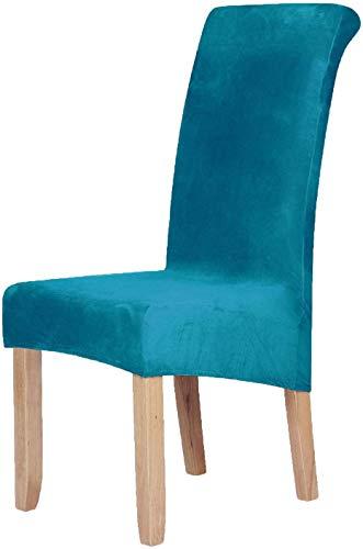 Homaxy Velvet Stretch Esszimmerstuhl Hussen - Spandex Plüsch Stuhlhussen Solide Großes Esszimmer Stuhl Protector Home Decor Set 4, Pfauenblau