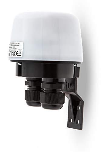 HUBER Twilight 10, Dämmerungsschalter aussen, weiß, aufputz, Dämmerungssensor einstellbar, IP65 Strahlwasser geschützt, 2 Kabeleinführungen