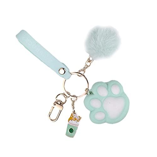 Llavero con diseño de pata de gato, con bola de peluche, accesorios para colgar en coches, teléfonos, bolsos de mano, rosa/marrón/verde
