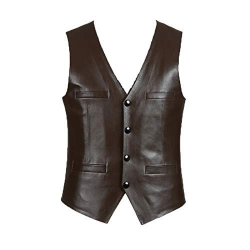 Chyoieya Chaleco de cuero para hombres marrn negro piel de oveja slim fit moda hombres chaleco superior motocicleta ropa ms tamao