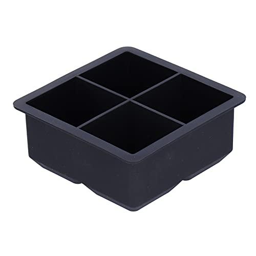 Molde para hielo Bandeja para cubitos de hielo de 4 rejillas con tapa Molde para cubitos de hielo elástico para bebidas Whisky Vino Cóctel