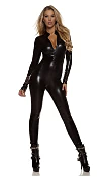 Forplay Women s Metallic Zip Front Mock Neck Catsuit Black Small/Medium