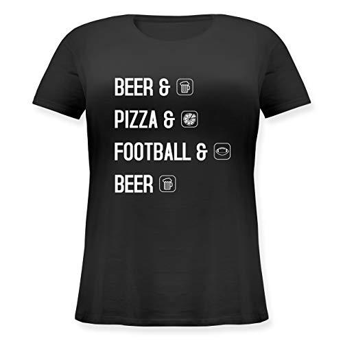 Sonstige Sportarten - Beer Pizza Football Beer - L - Schwarz - Pizza - JHK601 - Lockeres Damen-Shirt in großen Größen mit Rundhalsausschnitt