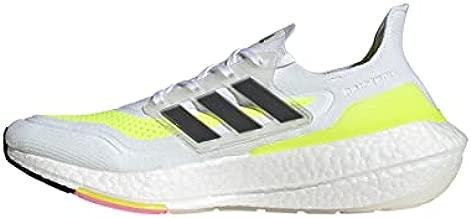adidas Men's Ultraboost 21 Running Shoe, White/Black/Solar Yellow, 9.5