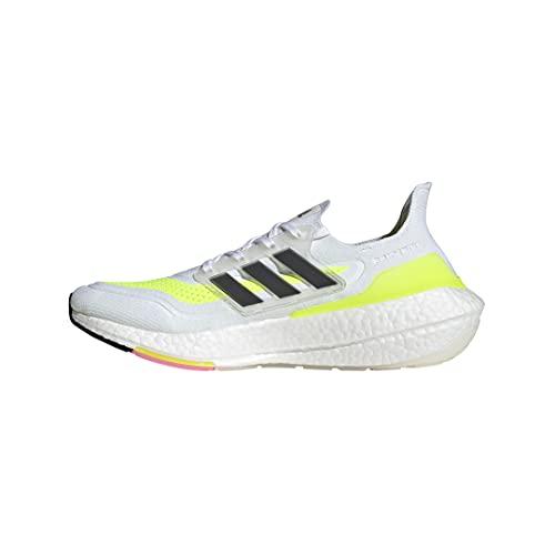 adidas Men's Ultraboost 21 Running Shoe, White/Black/Solar Yellow, 10