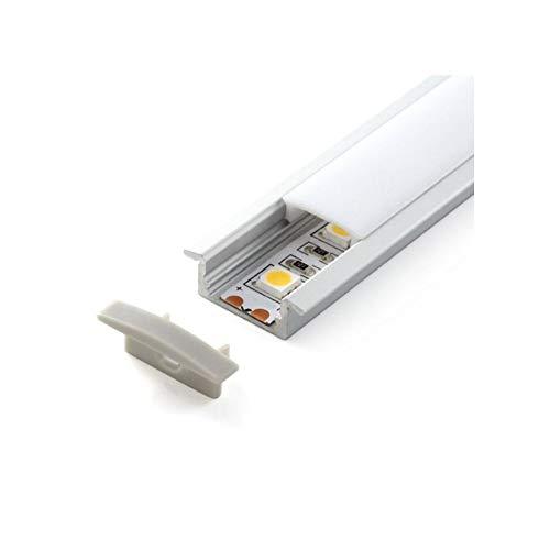 LEDUNI ® Perfil Aluminio Perfil de Aluminio LED para Luces de Tira del LED con Cubierta Blanca Lechosa Los Casquillos de Extremo y los Clips de Montaje del Metal-Plata (Empotrable, 5 Unidades)