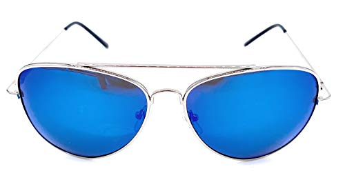 Large Full Metal Frame Aviator Sunglasses Silver Blue Mirror