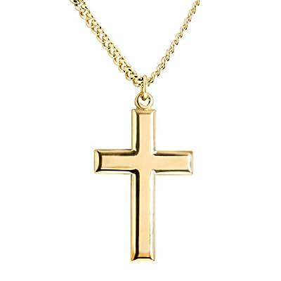 Heartland Classic High Polish Cross 14 Karat Gold Filled Pendant for Men + USA Made + Chain Choice