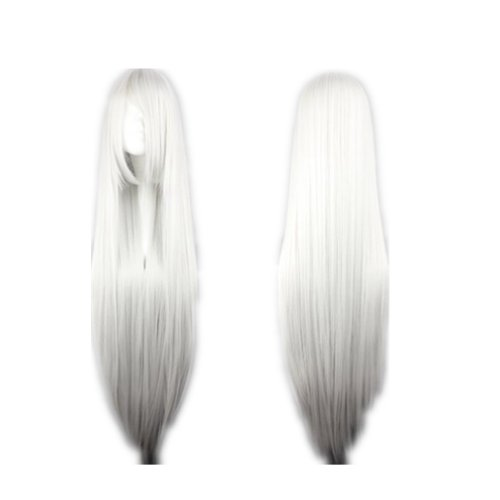 COSPLAZA Cosplay Costume Wigs Perruque longue raide Anime Show glamour Halloween Party Cheveux 100cm blanche argentée