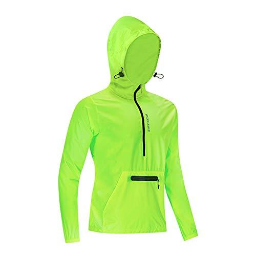 Cycling Jacket Motocross Hooded Windbreaker Mountain Bike Cycling Suit Long Sleeve Cycling Suit Skin Windbreaker Jacket,Green,XXXL