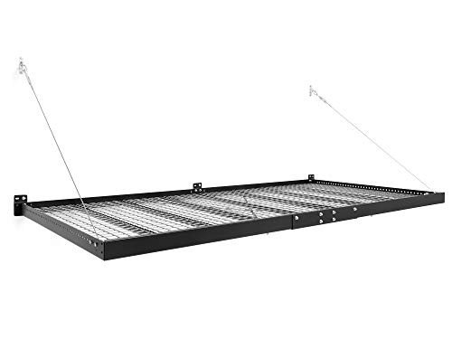 NewAge Products Pro Series Black 4 ft. x 8 ft. Wall Mounted Steel Shelf, Garage Overheads, 40400