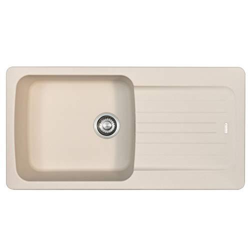 Franke Aveta 1.0 Bowl Cream Composite Tectonite Reversible Kitchen Sink & Basket Waste Kit with Fitting Clips