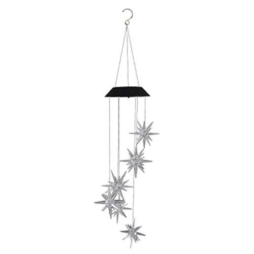 brightsen Carillón de viento solar, colorido lámpara LED de viento solar al aire libre móvil colgante patio luz villa decorativa porche cubierta, decoración de jardín