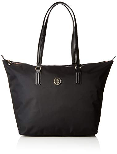 Tommy Hilfiger Women's Nylon Blend Tote Handbag, Black, Size: OS