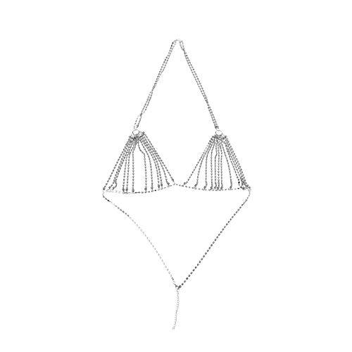 Vintage brillante Strass cristal BH pecho cuerpo cadena vajilla collar joyas plata