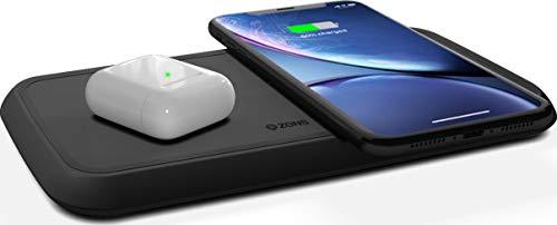 ZENS Qi-gecertificeerd Dual Fast Wireless Charging Pad 2x10W Zwart, ondersteunt snel draadloos opladen met maximaal 10 Watt - Werkt met alle telefoons met draadloos opladen