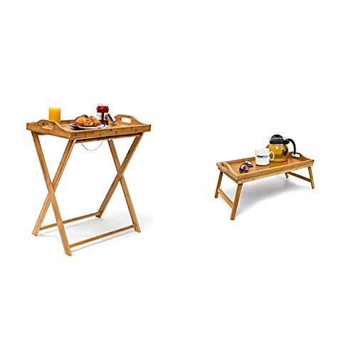 Relaxdays Tabletttisch, Natur & 10012858 Betttablett, Bambus, Braun, 50x30x23 cm