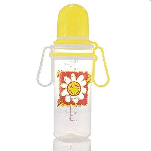 250mL Recién Nacido Bebé Niño Niña Calibre estándar PP Biberón Agua Potable Sensación de Pecho - Amarillo