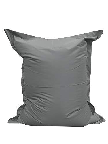 chilly pilley Sitzsack L XL XXL Bodenkissen Beanbag Styropor Füllung Riesensitzsack zum Liegen und Sitzen wasserdicht wasserabweisend (100x70, Grau)