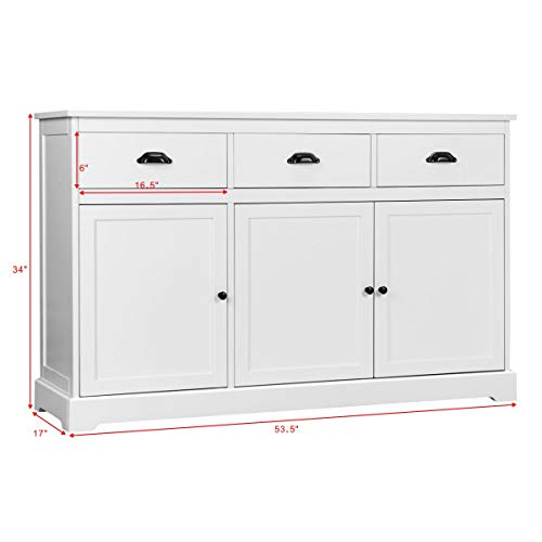 Giantex-Sideboard-Buffet-Server-Storage-Cabinet-Console-Table-Home-Kitchen-Dining-Room-Furniture-Entryway-Cupboard-with-2-Cabinets-and-3-Drawers-Adjustable-Shelves-White