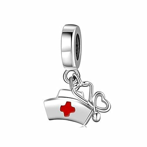 Medizin Charm 925 Sterling Silber Krankenschwester Hut Herz Gehirn Lunge Rippen Anhänger Perlen Fit Original Armband Diy Edlen Schmuck Machen D5