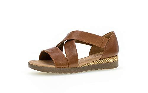 Gabor Damen Sandalen, Frauen Riemchensandalen,Comfort-Mehrweite, römer-Sandale Sandalette Gladiatoren-Sandale Lady,Peanut(Raff/Ambra),37 EU / 4 UK