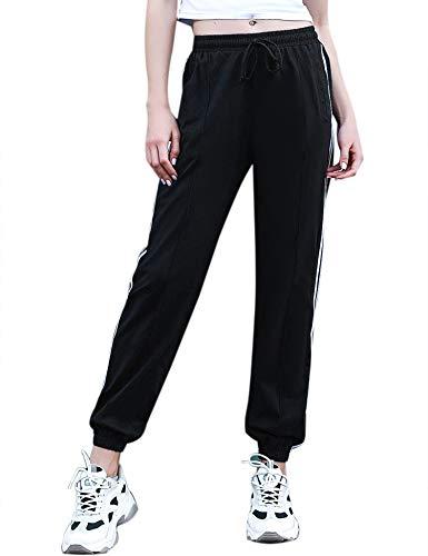 Irevial Jogginghose Damen mit Streifen Lang Freizeithose Baumwolle Traininghose für Yoga Laufen Fitness