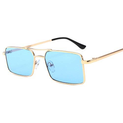 DIF Square - Occhiali da sole da donna in lega metallica, montatura a tromba trasparente, doppio ponte da uomo, stile retrò, speciale Blu