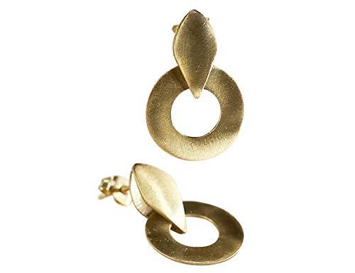 Pendientes de Oro 18k en forma Circulo de diseño para Mujer - Aretes Minimalistas para regalo