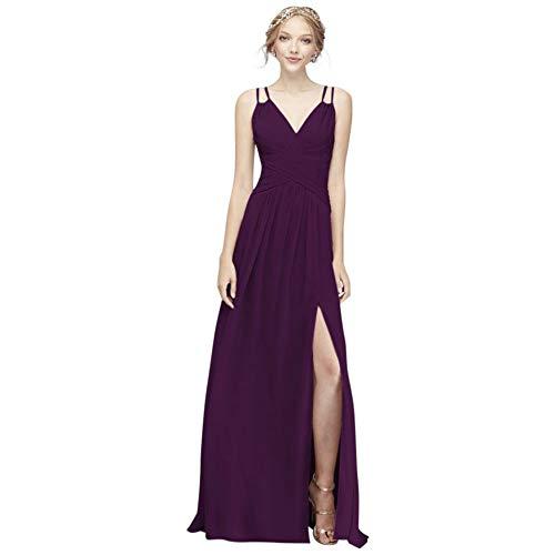 Plunging V-Neck Crinkle Chiffon Bridesmaid Dress Style F19837, Plum, 2