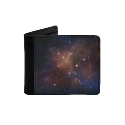 Cartera Delgada de Cuero para Hombre,Serie Deep Space Composición de Estrellas nebulosas y Colores adecuados como telón de Fondo para los proyectos sobre astronomía,Ciencia,Cartera Simple